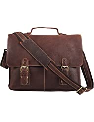 Polare Mens Real Leather Professional Messenger Bag Laptop Briefcase