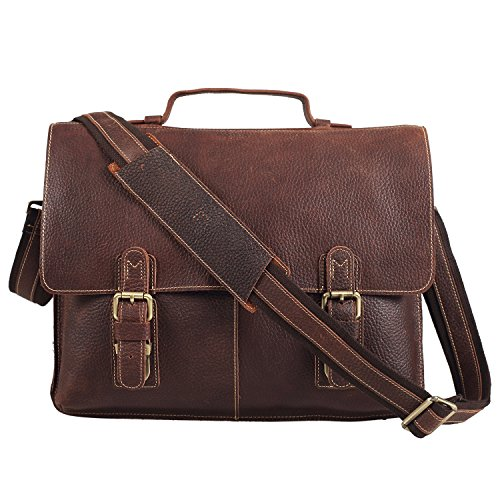 Polare Men's Genuine Leather Professional Messenger Bag Laptop Briefcase