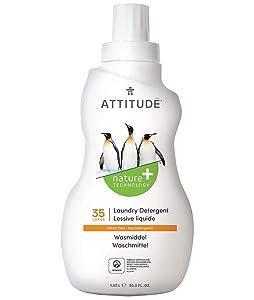 ATTITUDE Liquid Laundry Detergent, 3x Concentrated, Non-toxic, Hypoallergenic, Citrus Zest, 35.5 Fluid Ounce, 35 Loads