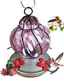 Grateful Gnome – Hummingbird Feeder – Hand Blown Glass – Caged Pink Flower – 16 Fluid Ounces Review