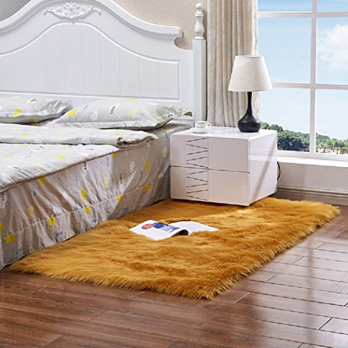 Super Soft Faux Fur Sheepskin Rug Mat, Fluffy Area Rug Shaggy Thick Chair Cover Seat Pad Fur Floor Mat Carpet for Bedrooms Living Room Kids Rooms,Gold,3x5ft Bay Window Rug