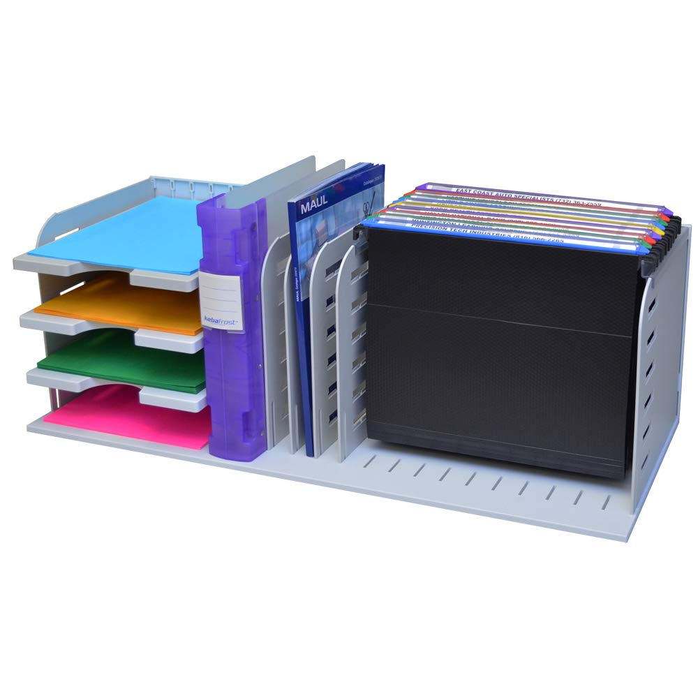 Ultimate Office VersaFile Desk Organizer Letter Trays, Vertical Sorter and Hanging File Rack for Fast and Easy Desktop Access to All Your Forms, Books, Binders, and Files! Gray with Gray Dividers