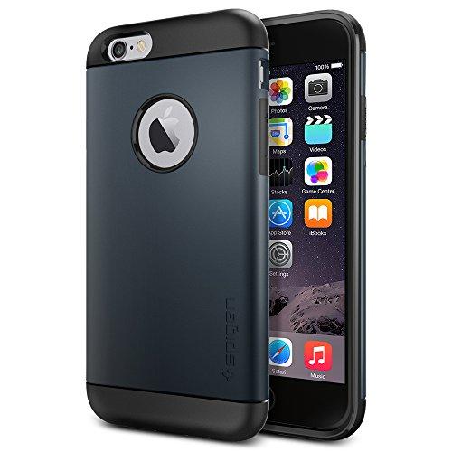 """Spigen Schutzhülle iPhone 6S und 6 (4,7"""") Hülle SLIM ARMOR [Air cushion-Kantenschutz] - Tasche in schwarzblau [Metal Slate - SGP11169]"""