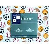 Max Studio Kids 3 Piece Twin Sheet Set Sports Balls Soccer Footballs Baseballs Basketballs