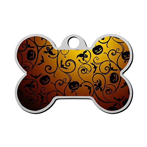 Mhmkrot Halloween Pumpkin Vine Dog Tag Pet ID Tags Cat Tags Bone Shaped Zinc Alloy Identity Pendant Trendy Funny Double Sided Printed - DIY -