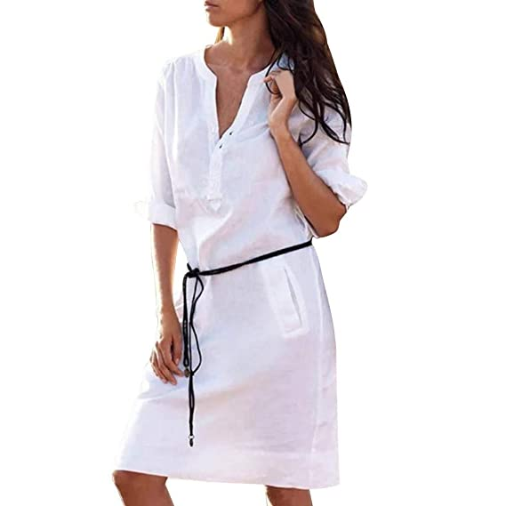 Lenfesh Camisa Larga Informal Vestido Corto Elegantes Vestido de Fiesta Mini Vestido de Manga Larga con