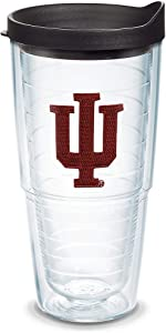 Tervis 1041919 Indiana Hoosiers Logo Tumbler with Emblem and Black Lid 24oz, Clear