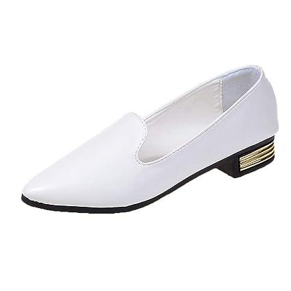 Darringls_Sandalias para Mujer,Damas Bombas Casuales Zapatos Planos Zapatos De Trabajo Zapatos Perezosos Zapatos con Cordones Retro Zapatos Bullock College ...