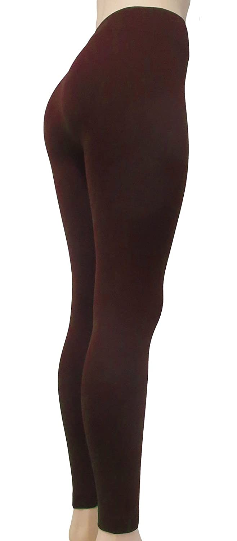 Sofra Womens Classic High Waisted Wide Band Yoga Fleece Plus Size /& Regular Leggings