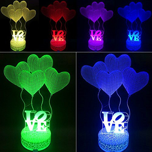 SmartEra® 3D Optical Illusion 4 Love Shapes and Letters LOVE Lighting Night 7 Color Change USB Touch Button LED Desk Table Light Lamp