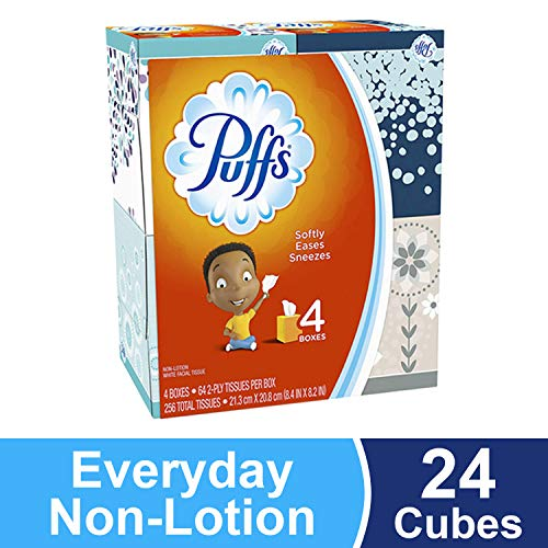 (Puffs, Everyday Non-Lotion Facial Tissues, 24 Cubes, 64 Tissues per)