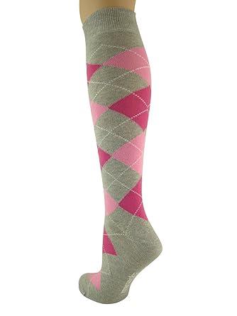 My Socks - Calcetines altos para hombre, diseño de rombos, color gris, rosa y fucsia: Amazon.es: Ropa y accesorios