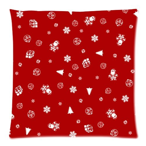Christmas Crimson Snowflake, Santa, Christmas Tree, Bell Cushion Case - Square Pillowcase Cushion Case Throw Pillow Cover with Invisible Zipper Closure - 18x18 inches, Twin-sided Print, Merry Xmas Christmas Eve, Great Decoration for Christmas
