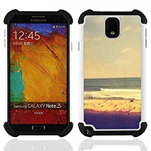 """SAMSUNG Galaxy Note 3 III / N9000 / N9005 - 3 en 1 impreso colorido de Altas Prestaciones PC Funda chaqueta Negro cubierta gel silicona suave (Arena Natación cielo amarillo"""")"""