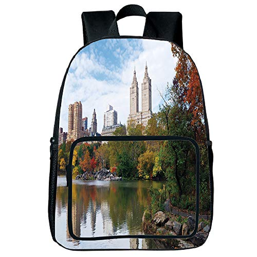 Polychromatic Optional Square Front Bag Backpack,City,Manhattan Central Park Panorama in Autumn Scenic Lake View Colorful Trees Reflection,Multicolor,for Children,Comfortable Design.15.7