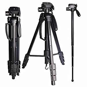 "Tripod for Camera-CAMBOFOTO 70"" 2 in 1 Tripod and Monopod Lightweight Portable Tripod for SLR/DSL Canon Nikon Sony Olympus etc with tripod bag"
