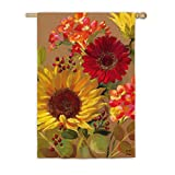 Evergreen Fall Floral Outdoor Safe Double-Sided Suede House Flag, 29 x 43 inches