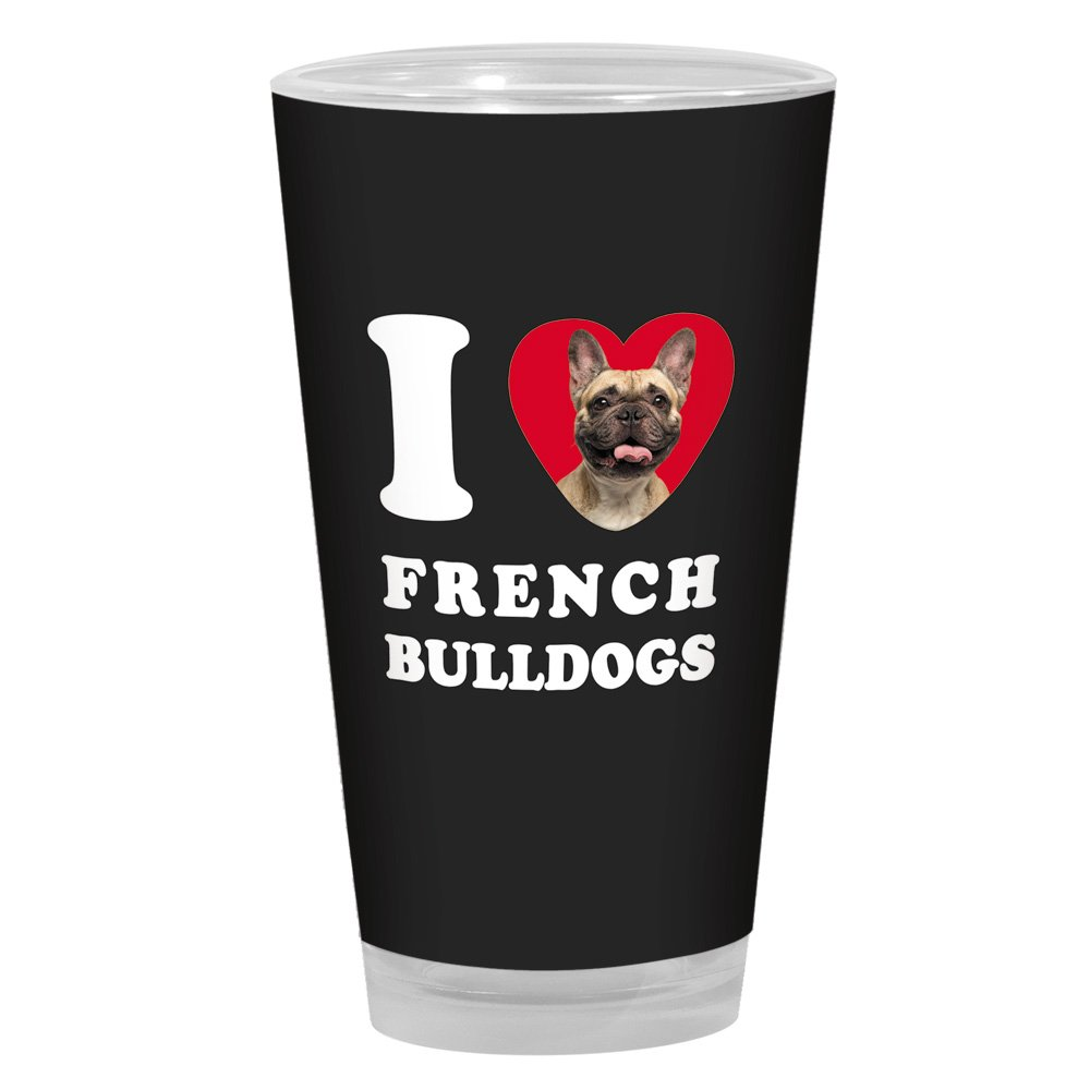 16-Ounce Tree-Free Greetings PG04053 I Heart French Bulldogs Artful Alehouse Pint Glass