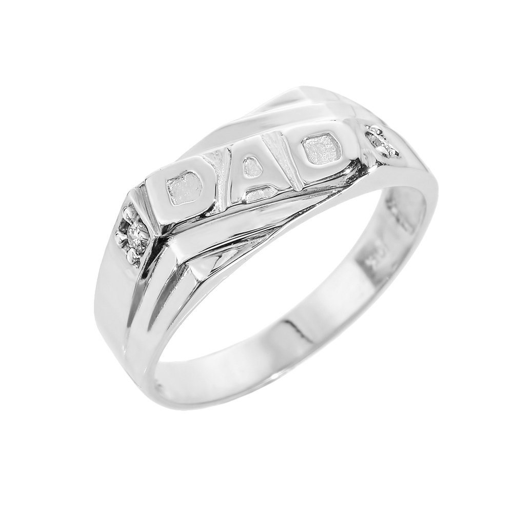 Men's 925 Sterling Silver Solid Band CZ Dad Ring, Size 16
