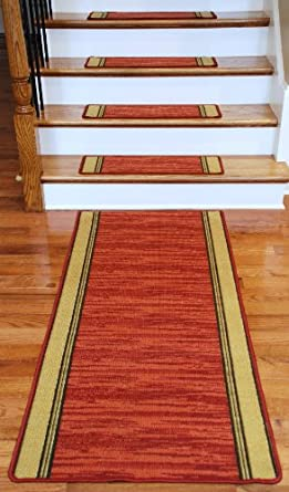 Washable Non-Skid Carpet Stair Treads - Boxer Terra Cotta