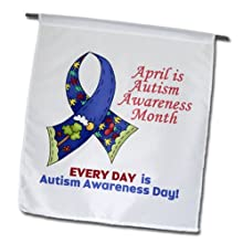 3dRose fl_113514_1 Garden Flag, 12 by 18-Inch, Autism Awareness April and Every Day Awareness Ribbon Cause Design