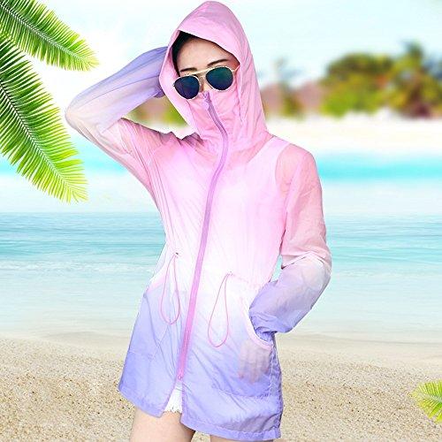 QFFL fangshaifu ロングセクションサマーステッチカラー日焼け防止服/女性通気性のある薄いコート/ファッションフード付きのオフィスエアコンカーディガン (サイズ さいず : S s)