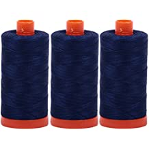 Aurifil Mako 50wt Thread 3 Large Spools: Dark Navy (2784x3)