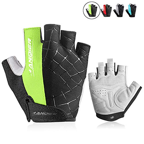 anqier Cycling Gloves Men Women Bike Gloves Mountain Biking Gloves with Anti-Slip Shock-Absorbing Pad Breathable Half Finger Workout Gloves Riding Sports Road Bicycle Gloves - Mens Short Finger