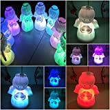 1 Pcs Brilliant Modern LED Angel Shape Nightlight Christmas Doll Toy Romantic Light Changing Xmas Home Decor Body Color White