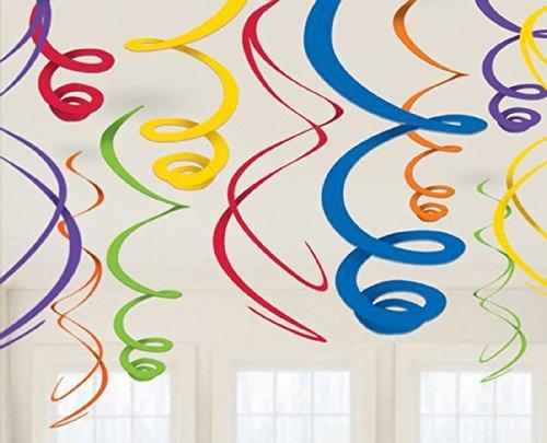 "Amscan Vivid Rainbow Plastic Swirl Decorations, 22"", Multico"