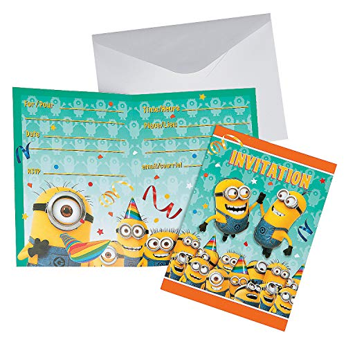 Fun Express - Minions Invites for Birthday - Party Supplies - Licensed Tableware - Licensed Invitations - Birthday - 8 Pieces ()