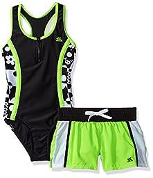 ZeroXposur Big Girls\' Pop-a-Dot 1pc Swimsuit with Short, Acid Lime, 12