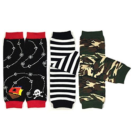 Bowbear Baby 3-Pair Leg Warmers, Sea Adventures, Stripes, Camouflage