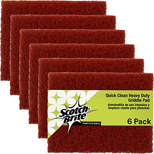 Scotch-Brite Griddle Cleaner Pad, Heavy Duty, Quick Clean for Baked-On Food and Cooking Oils, Use on Hot or Cool Griddle, 4 in x 5.25 in, 6 Pads/Pack