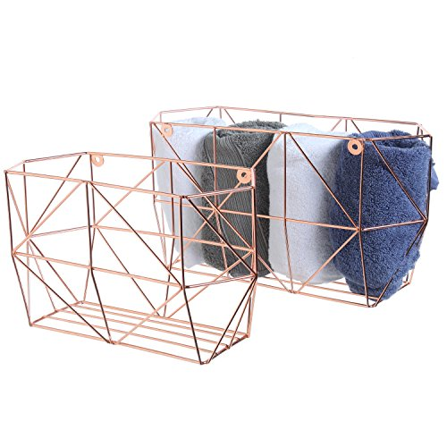 MyGift Copper-Tone Geometric Metal Wire Wall-Mounted Fruit Baskets, Home Storage Bins, Set of 2