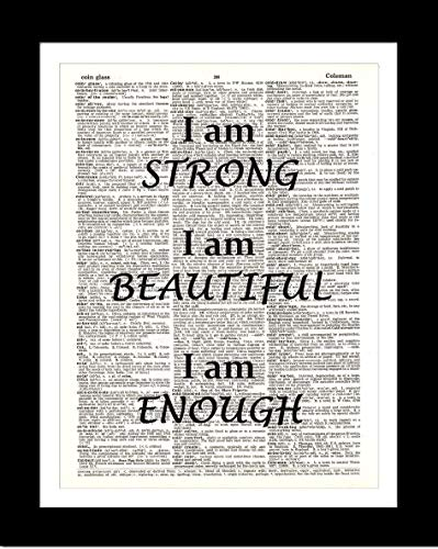 Amazon Com I Am Strong Beautiful Enough Dictionary Art Print