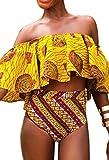 Bong Buy Women's Off Shoulder Two Piece Ruffle Flounce Bikini African swimsuit Sexy Vintage Bathing Suit(S,yellow)