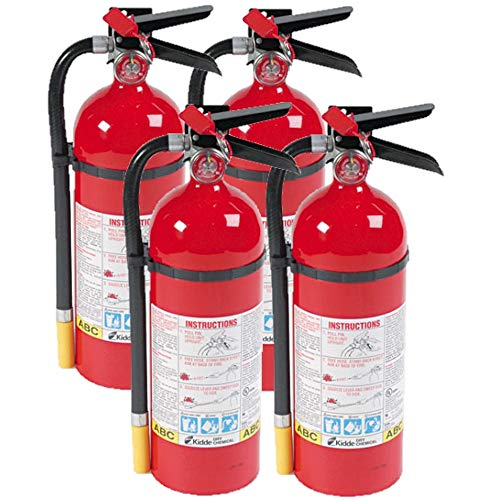 Kidde 466112 ABC Pro Multi-Purpose Dry Chemical Fire Extinguisher, UL Rated 3-A, 40-B C, Easy to Read Gauge, Easy to Pull Safety Pin 4-Fire Extinguishers