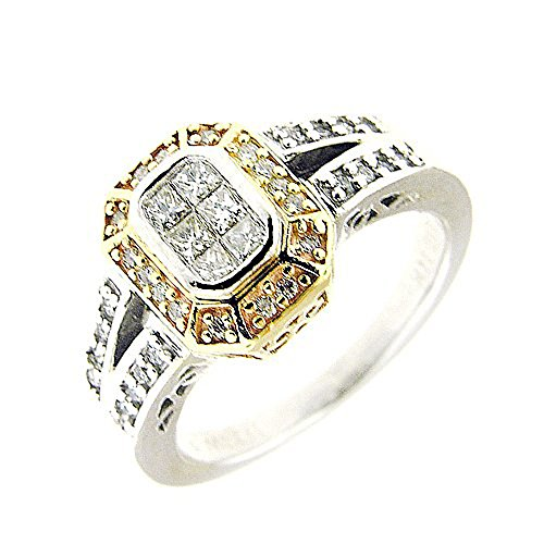 0.75 Yellow & White Gold Antique Design Filigree Diamond Ring 14kt ()