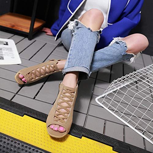 Frottent Sur La Croix Tongs Beige Plage Femme Talons Sandales Creux Chaussures Mixte Liée Heel Femmes Rome les qpR1gw