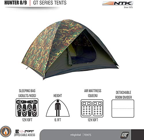 NTK HUNTER GT 8 to 9 Person 10 by 12 Foot Outdoor Dome Woodland Camo Camping Tent 100 Waterproof 2500mm, Easy Assembly, Durable Fabric Full Coverage Rain fly – Micro Mosquito Mesh Maximum Comfort