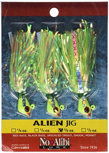 Rigged Pre Jig - No Alibi Alien Jig, 3/8-Ounce, Pearl Green Finish