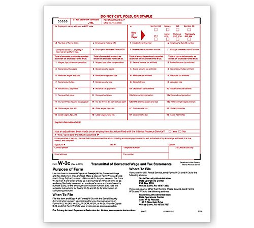 2018 Laser W-3C Transmittal of Corrected Income ~Wage Correction Form ~
