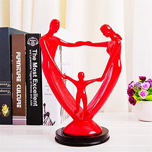 Happy Family Resin People Statue Figurines Creative Modern Desk Ornaments Crafts Gift Home Office Decoration Accessories (Color : Red)