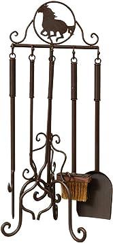 Western Texas Lone Star Theme Fireplace Tool Set 5 Pc Rustic Home Decor