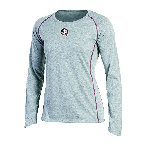Champion NCAA Women's Long sleeve Crew Neck Raglan T-Shirt, Florida State Seminoles, Medium, Gray Heather
