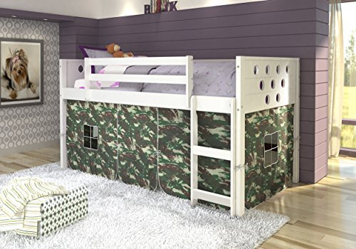 DONCO Kids 780A-TW-CAMO Circles Low Loft Bed with Camo Tent, Twin, White