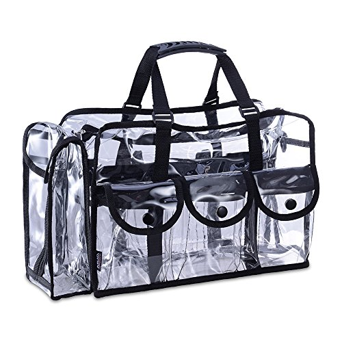 KIOTA Makeup Artist Storage Bag, Clear Cosmetic Bag with Side Pockets and Shoulder Strap, Ergonomic Handle, ON THE GO Series – Black Trim