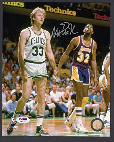 Magic Johnson Signed 8x10 Color Photo With Larry Bird PSA/DNA