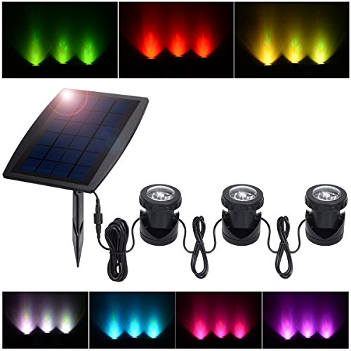 (PChero Outdoor Solar Pond Light, Solar Powered Waterproof LED RGB Landscape Spotlight Security Night Light, 3 Led Lamps and Solar Panel Included)